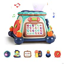 TUMAMA 6-in-1 Baby Activity Cube Musical Drum Instruments with Lights and Sounds, Learning Alphabet Game, Baby Soother Story Tellers Toy Gift for Infants,Toddlers,Boys,Girls 12 18 Months & Up