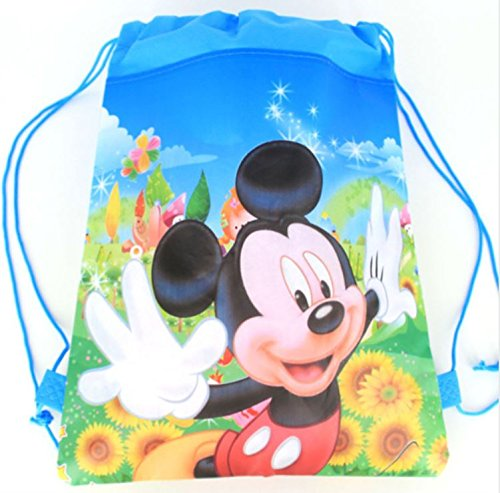 JDProvisions 12 Piece Disney Mickey Minnie Drawstring Bag Backpack for Party Favors Goodie Gift Birthday Bags (Mickey) -