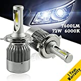 YUMSEEN H4 LED Headlight Kit Bulbs COB Chip SMALL DIAMETER (35MM) 12V/24V-72W 7,600Lm 6000K Conversion Kit Worry-Free Ampper's 1 years warranty (H4/HB2/9003 Hi Lo)