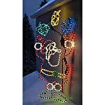 WeRChristmas Animated Father Christmas Santa Claus and Presents Rope Light Silhouette, 114 cm – Large, Multi-Colour