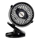 ETONG Portable Clip Fan 5-inch Rechargeable Clamp Fans Battery Powered Clip Table Fan Desktop Fan Clamp Fans Personal Cooling Fan Clip on Fans Clip (Black)