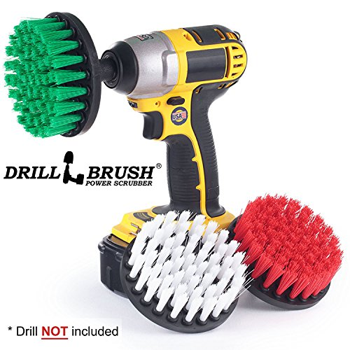 Cordless Drill Powered Cleaning Rotary Electric Brush Kit for Tile and Grout, Tub, Shower, Sink, Porcelain (Cleaning Porcelain Sink)