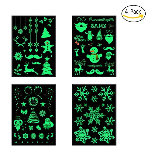 Christmas Temporary Tattoos, Christmas Carnival Party Luminous Stickers, Tattoos Glitter Body Tattoos Gold Waterproof Disposalbe, Body Art Stickers by Ocaler(4 (Good Easy Last Minute Halloween Costumes)