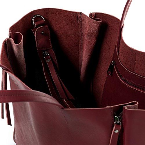 grande spalla vera Borsa FEYNSINN borsa 13 adatto Borsa pelle rosso a a mano portatile JAX marsala ZIP xw7YnwO4q
