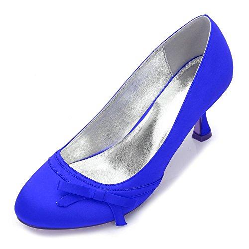 L@YC Para Mujer 17061-38 Nupcial De La Boda Bombas De SatéN Ladies Slip On Prom Bombas De Dama De Honor Zapatos TamañO Blue