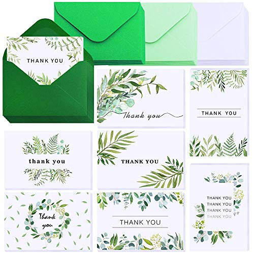 Supla 40 Sets 8 Prints Wedding Floral Greenery Watercolor Willow Eucalyptus Thank You Cards with Envelopes Bulk Greeting Cards Gratitude Cards Gift Cards for Graduation Birthday Bridal Baby Shower