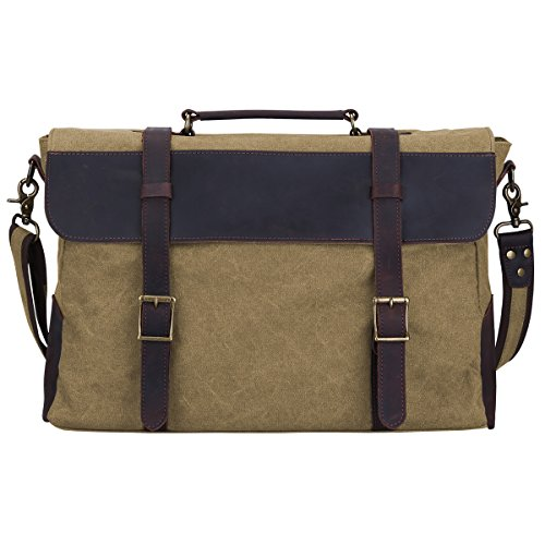 Khaki Messenger Bags (S-ZONE Vintage Canvas Leather Messenger Traveling Briefcase Shoulder Laptop Bag (Large-Khaki))