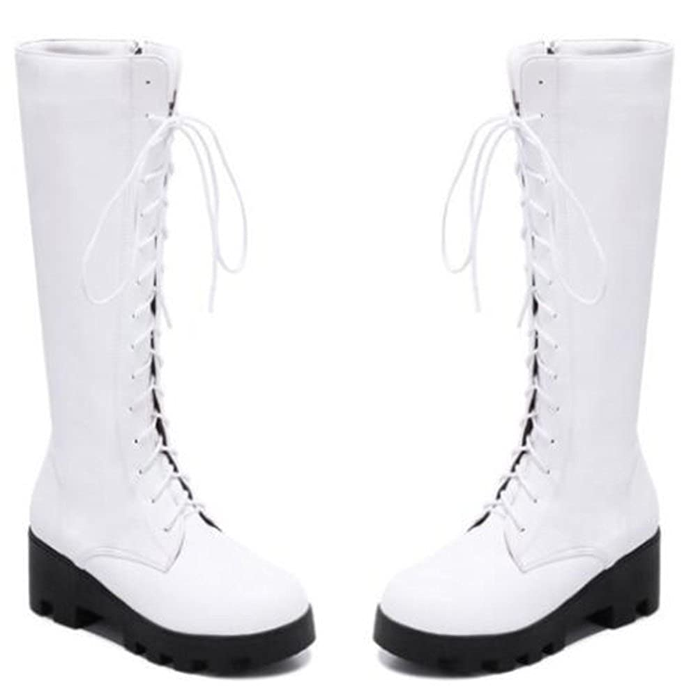 IDIFU Womens Casual Mid Chunky Heels Platform Lace Up Full Zip Mid Calf Boots
