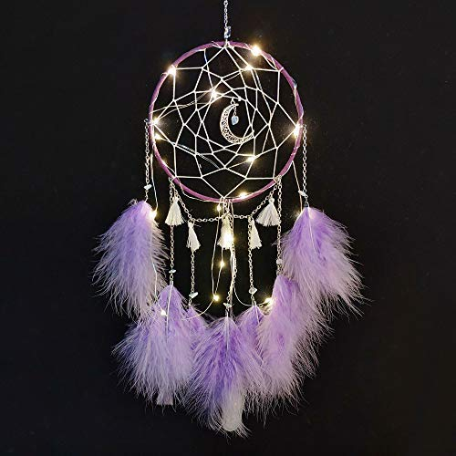 Meticci LED Dream Catcher, LED Dream Catchers, Dream Catcher, Dream Catchers Handmade Traditional Feather Hanging Home Wall Decoration Décor Ornament Craft Native American Style (Purple)