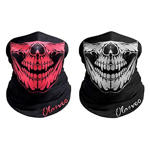 Breathable Seamless Tube Skull Face Mask half Dust-proof Windproof Motorcycle Bicycle Bike Face Mask for Hiking Camping Climbing Fishing Hunting Motorcycling Headband Scarf Headwrap Neckwarmer
