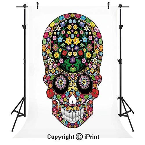 Sugar Skull Decor Photography Backdrops,Spring Garden Wild Blossoms Vegetation Calavera Inspiration Human Death,Birthday Party Seamless Photo Studio Booth Background Banner 3x5ft,Multicolor ()
