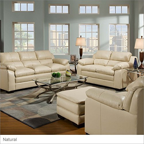 Plush Leather Match Upholstery (Soho Ottoman Color: Soho Natural Bonded Leather)
