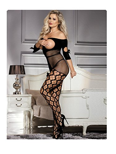 Crotchless Sexy High Elasticity Crotchless Fishnet Bodystocking Cupless Lingerie Black Plus Size (Open Bust Bodystocking)
