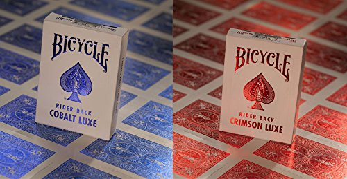 Bicycle Metal Luxe MetalLuxe Rider Back Playing Cards 2 Decks Crimson Red and Cobalt (Crimson Decks)