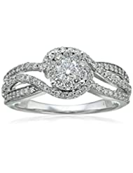 Round Composite Diamond 14k White Gold Engagement Ring (3/4ct...