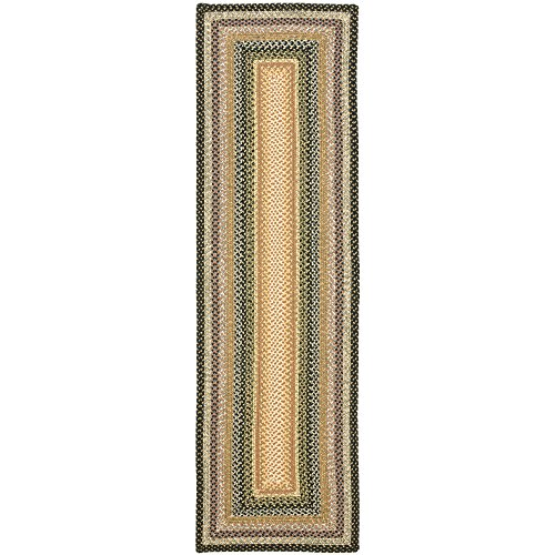 "Safavieh Braided Collection BRD308A Hand Woven Blue and Multi Runner (23"" x 6)"