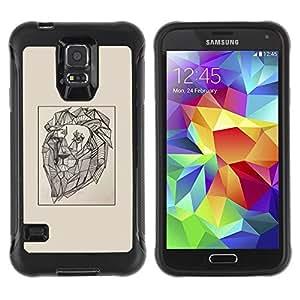 LASTONE PHONE CASE / Suave Silicona Caso Carcasa de Caucho Funda para Samsung Galaxy S5 SM-G900 / lion vignette artist art painting drawing