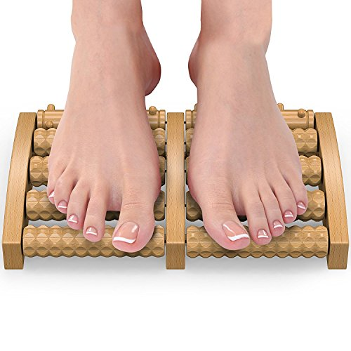 Trebisky Wooden Dual Foot Massager and Roller – Relieve Plantar Fasciitis, Heel & Foot Arch Pain - Stress Relief - Acupressure/Reflexology Tool - Perfect Gift (Large Cherry)