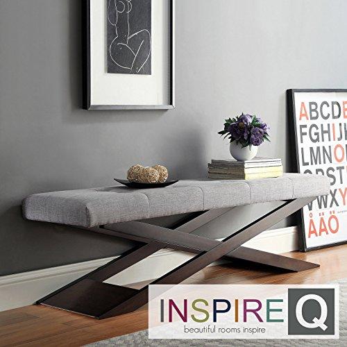 Metro Shop INSPIRE Q Bosworth Grey Linen Wood X Base Bench