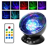 [Newest Design] Projection Lamp, ATiC Remote Control LED Night Light with 7 Flash Modes, Music Speaker, Relaxing Light Show for Baby Nursery, Adults and Kids Living Room & Bedroom - 12 LED Black