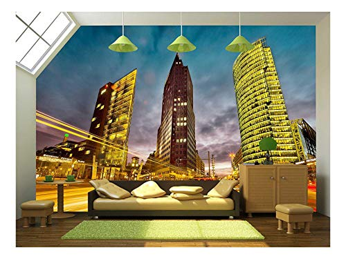 wall26 - Intersection in Front of The Potsdamer Platz in The City Center of Berlin, Germany - Removable Wall Mural | Self-Adhesive Large Wallpaper - 100x144 ()