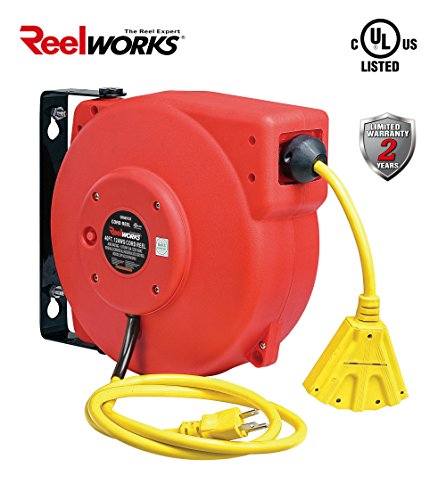 ReelWorks CR605131S3A Heavy Duty Extension Cord Reel, 12AWG/3C SJT, Triple Tap, 40' 40' Retractable Cord Reel