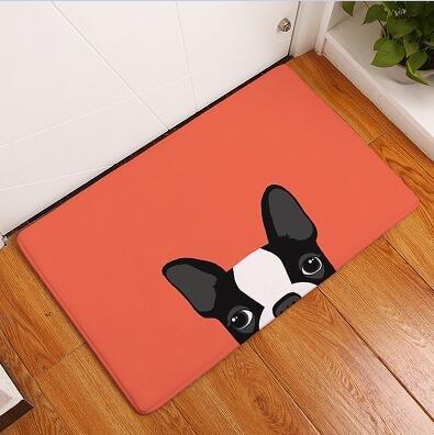 23 X 15 inch Red Dog Bath Mat, Black Cute Puppies Bathroom Mat Pet Animal Themed Anti Slip Bath Rug Printed Pattern, Grey White Printed Toilet Door Mat Absorbent Shower Non Skid, Suede
