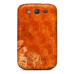 New Premium Flip Case Cover Orange Honeycomb Skin Case For Galaxy S3