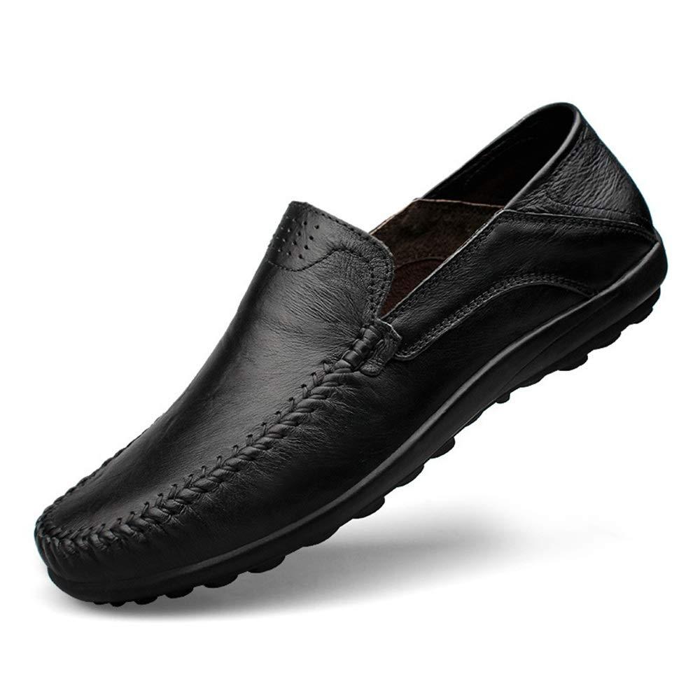 Fuxitoggo Breathable Business Schuhe für Männer Non Leder Slip Soft Lope Echtes Leder Non Loafers (Farbe : Braun, Größe : EU 41) Schwarz 655e46