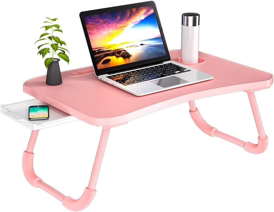 Veramz Laptop Desk for Bed, Laptop Bed Tray Table,Notebook Standing with Foldable Legs,Couch Table, Bed Desk,Reading Desk for Sofa (Pink)