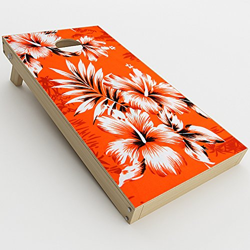 Skin Decal Vinyl Wrap for Cornhole Game Board Bag Toss (2xpcs.) Skins Stickers Cover / Orange Tropical Hibiscus Flowers