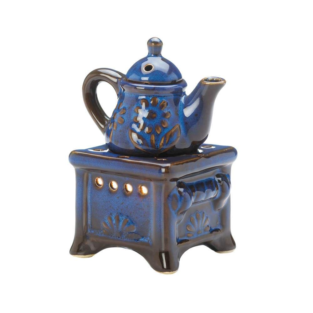Dayanaprincess New Nice Unique Blue Teapot Stove Oil Warmer Oven Kettle Cute Modern Accent Durable Long Lasting Use Decor Ornament Display Tabletop