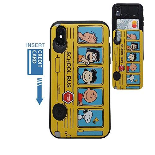 ([iPhone X Wallet Case/iPhone Xs Wallet Case] Kubrick Peanuts Snoopy Charlie Brown Slide Bumper Phone Case Dual Layer Card Wallet Holder (Peanuts School Bus))