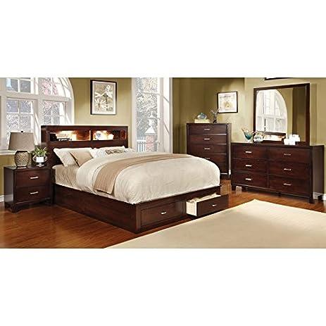 Keller Contemporary Brown Cherry Bookcase Headboard Queen Size 6 Piece  Bedroom Set