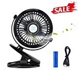 Iristide Rechargeable Mini Clip-on Fan, Portable 3-Mode Speed Desktop/Table USB Fan for Car Stroller Desk Tent, 360 Adjustable Silent Cooling (Black)