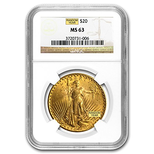 1907 – 1933 $20 Saint-Gaudens Gold Double Eagle MS-63 NGC G$20 MS-63 NGC