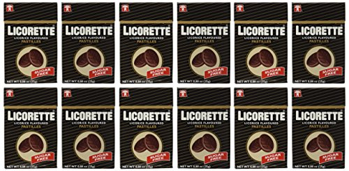 Licorette Sugar Free Licorice Flavored Pastilles, 0.88 oz Packets in a BlackTie Box (Pack of 12)