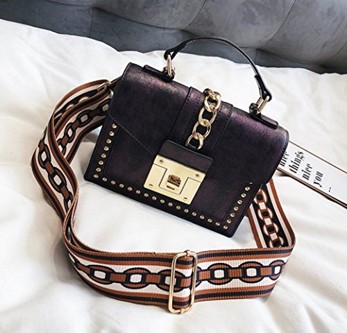 Remaches de las mujeres bolsos de hombro de la cinta bolsos cuadrados retros pequeños Bolsos de bloqueo de seguridad bolsos Purple