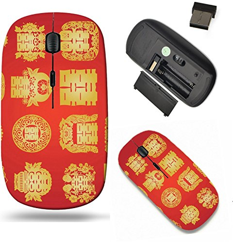 Liili Wireless Mouse Travel 2.4G Wireless Mice with USB Receiver, Click with 1000 DPI for notebook, pc, laptop, computer, mac book oriental double happiness Photo 4546005