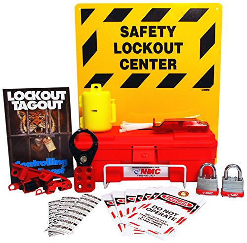 Lockout Tagout Station - NMC LOK2 11 Piece Electrical Lockout Center Kit, 14