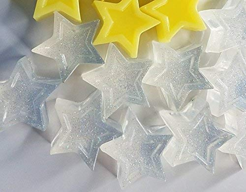 Twinkle Little Star Soap Baby Shower Favors - Clear Glitter with Baby Scent Star Soaps Gender Reveal Party Pack of 25 Dainty