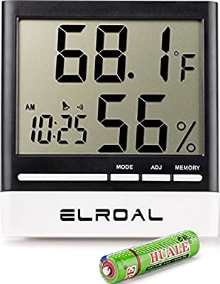 Elroal Humidity Monitor by Digital indoor Hygrometer - Thermometer - Alarm Clock with LCD Display - Temperature Gauge Humidity Meter for Home or Greenhouse, Basement or Office | Educational Computers
