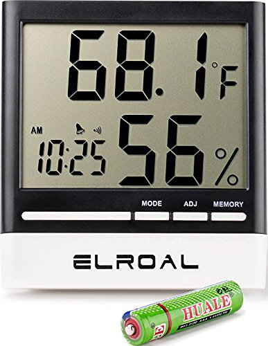 Elroal Humidity Monitor by Digital Indoor Hygrometer - Thermometer - Alarm Clock with LCD Display - Temperature Gauge Humidity Meter for Home or Greenhouse, Basement or Office (Clock Thermometer Hygrometer)