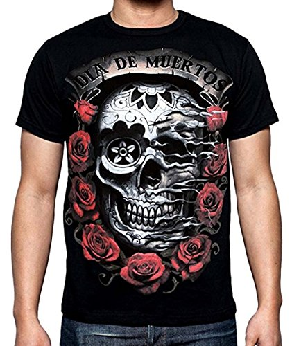 Men's Dia De Muertos T-Shirt Black Day Of The Dead S-3XL (L, Black) -