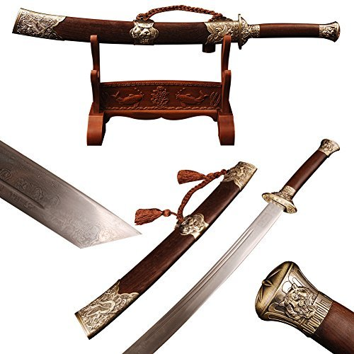 Shijian Chinese Folded Steel Tiger and Dragon Brown Broadsword