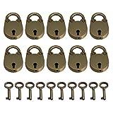 BQLZR Bronze Zinc Alloy Mini Archaize Padlocks Old Vintage Antique Style Luggage Box Key Lock With key Pack of 10