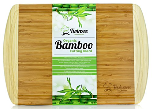 #1 EXTRAGROSSES Bio Bambus Schneidebrett mit Rille - Erstklassiges Tranchierbrett für die Küche