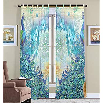 Sheer Window Curtain, 2 Panels Peacock Curtains for Bedroom, Voile Curtain Drapes for Living Room 55 X 78 inch