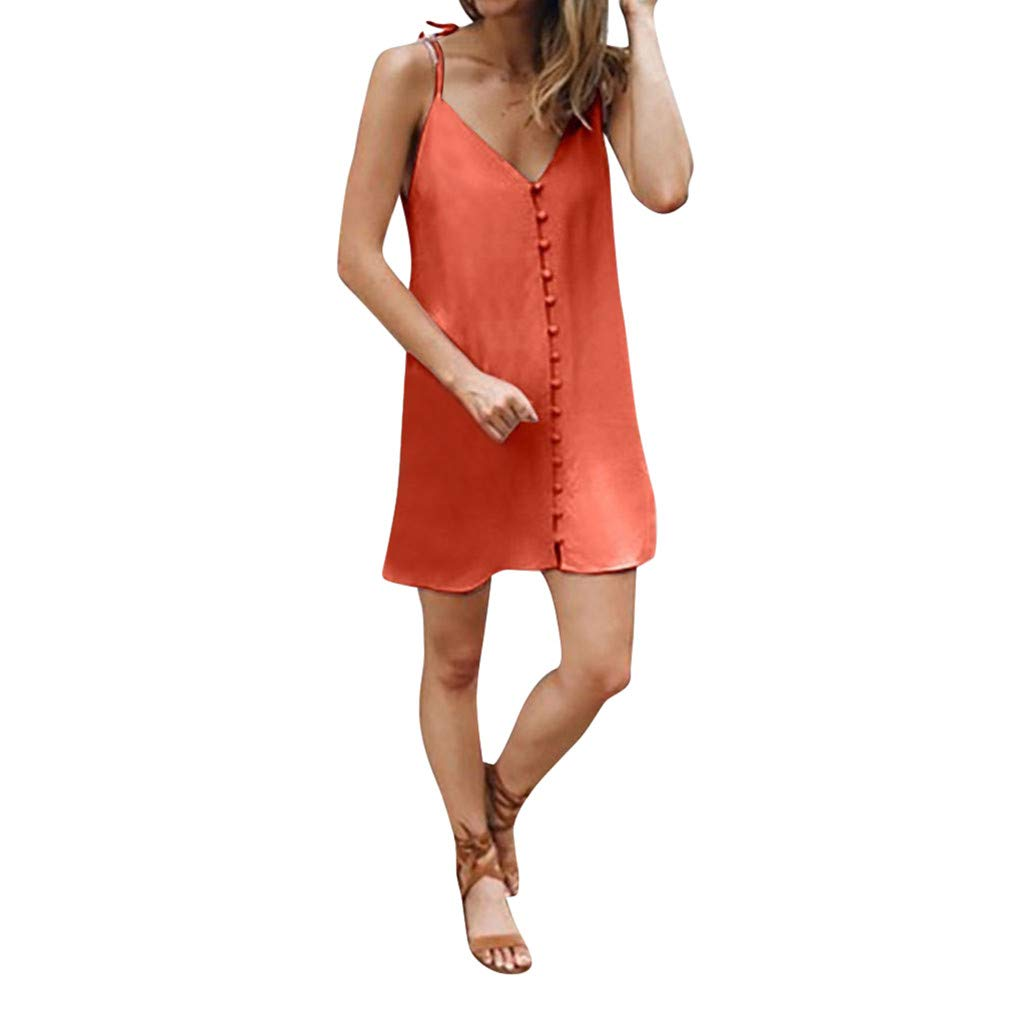 Keliay Dress for Women Summer,2019 Summer Women Sleeveless Beach Knee Mini Dress V-Neck Dress Orange