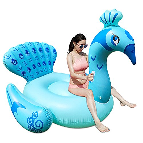 Inflatable Peacock Pool Floats Ride-on